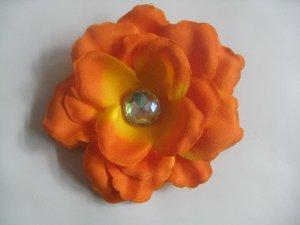 3 inch small rose Hair Clip - Orange