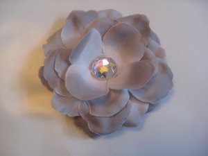 3 inch small rose Hair Clip - Silver