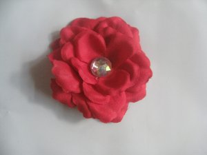 3 inch small rose Hair Clip - Red