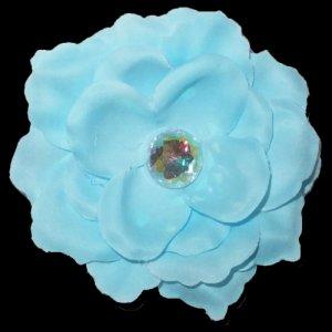 3 inch small rose Hair Clip - Light Blue