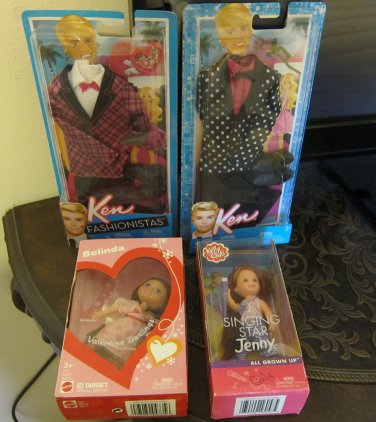 MATTEL BARBIE, KEN & KELLY LOT CLOTHES, DOLLS NEW, NRFB