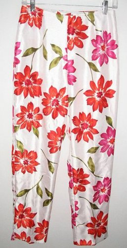 GIORGIO FIORLINI white floral PANTS size 6 NEW