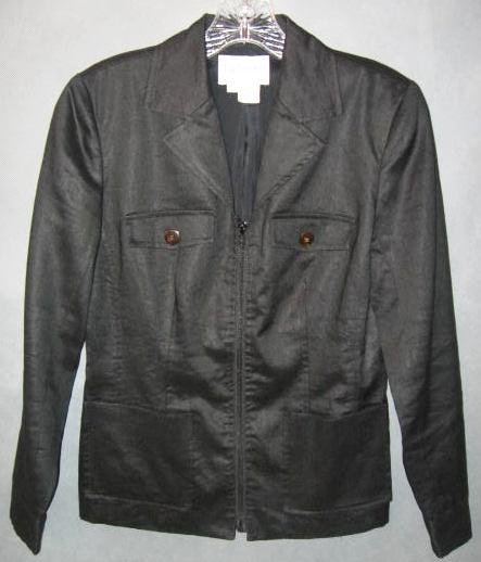 TO TONKO sharp black linen JACKET size 2 petite