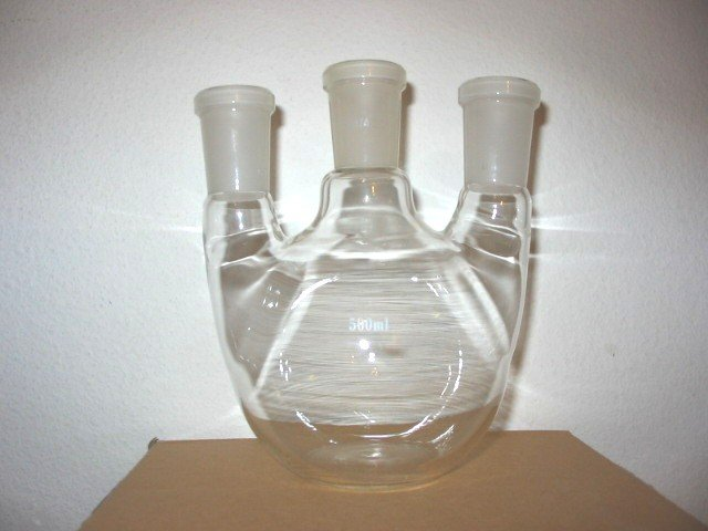 3-neck Flat bottom boiling flask: 24/40, 500ml