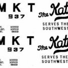 MKT KATY DECALS for AMERICAN FLYER TRAINS GILBERT