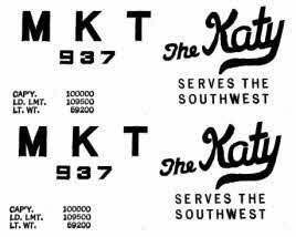 MKT KATY STICKERS for AMERICAN FLYER TRAINS GILBERT