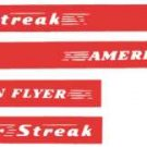 SILVER STREAK STICKER SET for AMERICAN FLYER TRAINS GILBERT