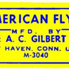 YELLOW ACCESSORY STICKER for AMERICAN FLYER TRAINS GILBERT