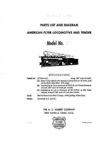 AMERICAN FLYER TRAINS 303 SERVICE MANUAL PARTS SHEET TRAINS - Copy