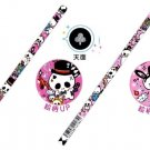 Kawaii Skulls Pencil + Cap + Eraser Set (Dark Pink)