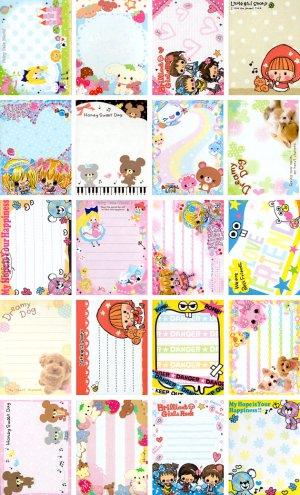 20 Various Mini Notepad Stationary Sheets (A)