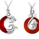 925 Sterling Silver Red Agate Dragon & Phoenix Pendant Set
