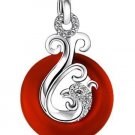 925 Sterling Silver Red Agate Phoenix Pendant