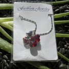 Red Crystal and Rhinestone Clover Pendant