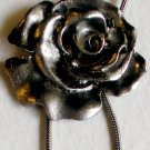 Large Silver Rose Dangle Pendant Necklace