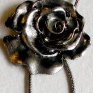 Large Silver Rose Dangle Pendant Necklace