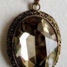 Large Bronze Oval Topaz Pendant Necklace
