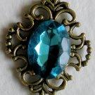 Bronze Blue Crystal Pendant Necklace