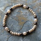 "[001] Elastic Brown and Smokey 7"" Glass Pearl Bracelet"