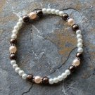 """[003] Elastic Brown and Pink 7"""" Glass Pearl Bracelet"""