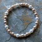 """[007] Elastic Coffee and White 7"""" Glass Pearl Bracelet"""