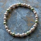 "[009] Elastic Coffee and Green 7"" Glass Pearl Bracelet"