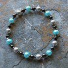 "[010] Elastic Blue and Grey 6.5"" Glass Pearl Bracelet"