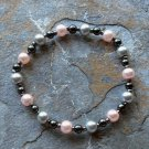 "[013] Elastic Pink and Grey 6.5"" Glass Pearl Bracelet"