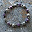 "[014] Elastic Purple and Grey 6.5"" Glass Pearl Bracelet"