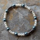 "[024] Elastic Blue and White 7"" Glass Pearl Bracelet"
