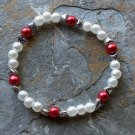 "[030] Elastic Red and White 6.75"" Glass Pearl Bracelet"