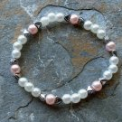 "[031] Elastic Pink and White 6.75"" Glass Pearl Bracelet"