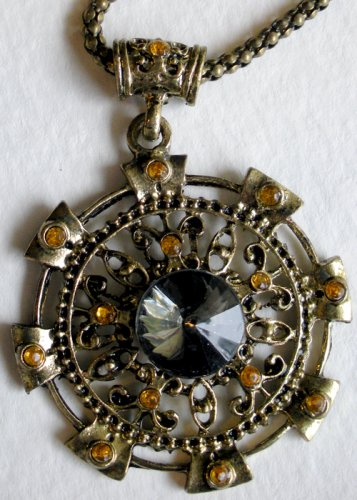 Large Round Bronze with Topaz Crystal Pendant