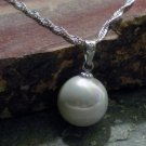 925 Silver Charm Necklace - Large White Glass Pearl Pendant