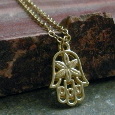 Delicate Gold Plated Hamsa Buddha Hand Necklace