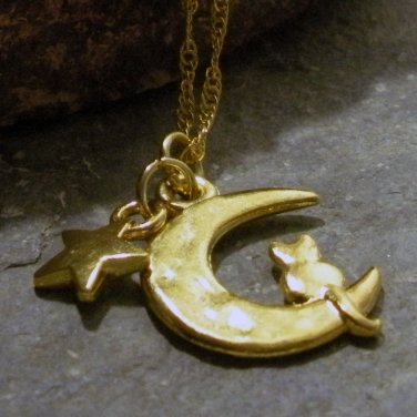 Gold Cat Sitting on a Crescent Moon ( Sailor Moon )