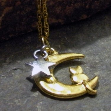 Gold + Silver Star Cat Sitting on a Crescent Moon ( Sailor Moon )