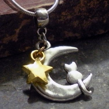 Silver + Gold Star Cat Sitting on a Crescent Moon ( Sailor Moon )