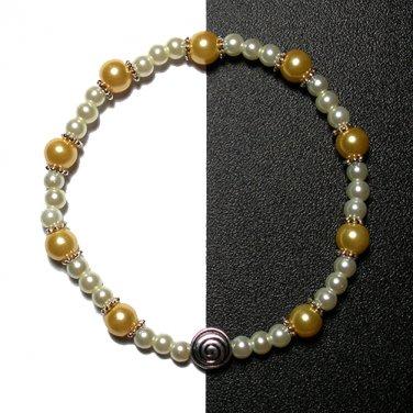 Kazumi Elastic Glass Pearl Bracelet [04] Apricot Yellow