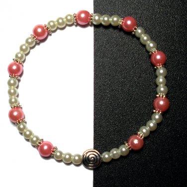 Kazumi Elastic Glass Pearl Bracelet [19] Pink