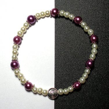 Kazumi Elastic Glass Pearl Bracelet [24] Purple