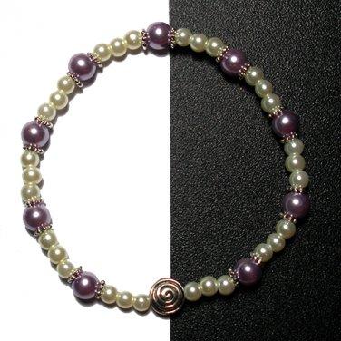 Kazumi Elastic Glass Pearl Bracelet [29] Lavender Purple