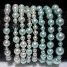 Soraya Princess Bracelets - Baby Blue Glass Pearls ( Set of 8 )