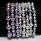 Soraya Princess Bracelets - Purple Glass Pearls ( Set of 8 )