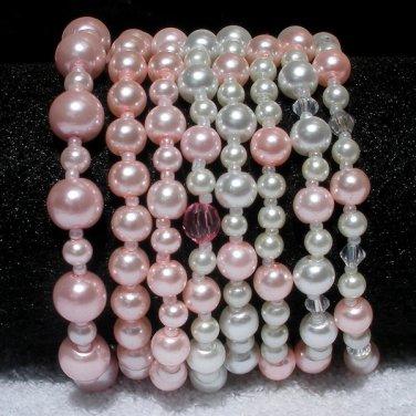 Soraya Princess Bracelets - Light Rose Pink Glass Pearls ( Set of 8 )
