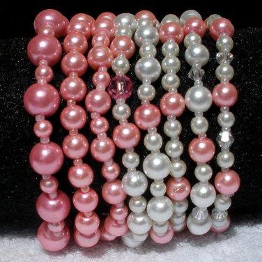 Soraya Princess Bracelets - Rose Pink Glass Pearls ( Set of 8 )