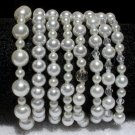 Soraya Princess Bracelets - White Glass Pearls ( Set of 8 )