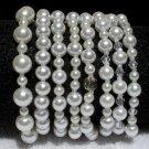 Soraya Princess Bracelets - White Glass Pearls ( Set of 8 )