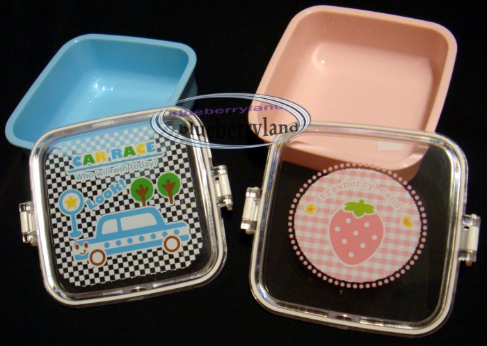 2 Japan Children Bento side dish Lunch Box Food snack case pink & blue