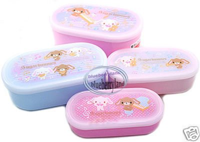 Sanrio Sugarbunnies Bento Lunch Box Food Container case 4pc